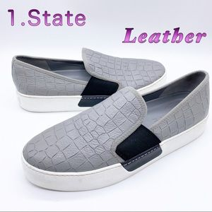 1.State- Leather Gray Animal Embossed Slip On 8.5